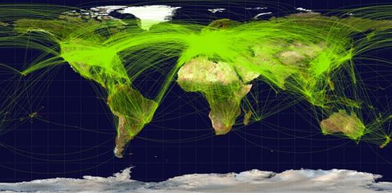 globalização rotas aéreas