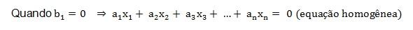 Equações e sistemas lineares - equação homogênea