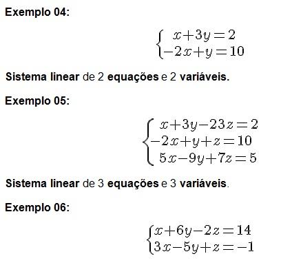 Equações e sistemas lineares - variáveis