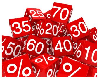 porcentagem - cubos vermelhos indicando vários percentuais de 10 a 70%