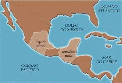 Mapa Império Asteca e Civilização Maia - Incas, Astecas e Maias