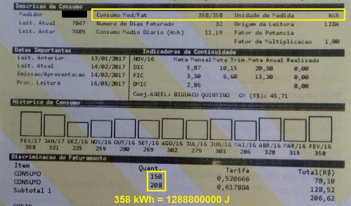 Potência elétrica - consumo de energia elétrica