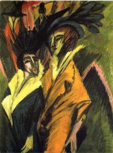 """KIRCHNER, E. Ludwig. """"Duas mulheres na rua"""", 1914. Obra do expressionismo"""