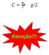 concentração das soluções - cálculo