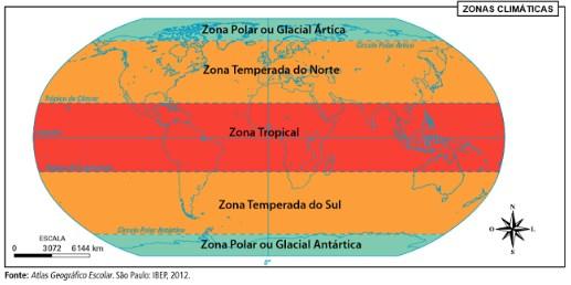 climatologia - Representação das Zonas Climáticas do Planeta Terra