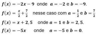 função de 1º grau - exemplos