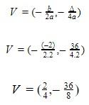função quadrática - vértice da parábola