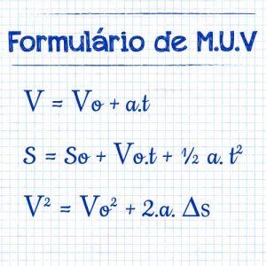 formulário de m.u.v. movimento uniformemente variado