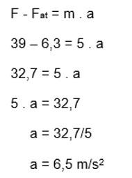 calculo da aceleração a = 6,5m/s²