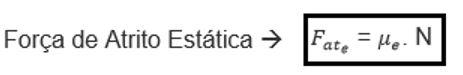 formula da força de atrito estatico