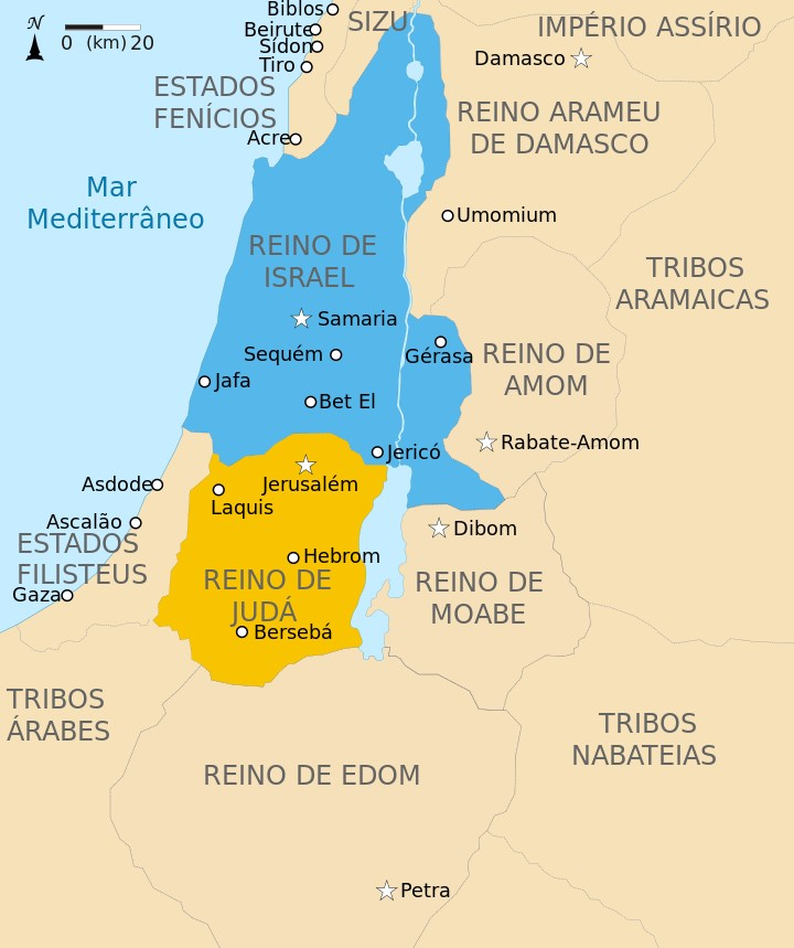 mapa do reino de israel hebreus