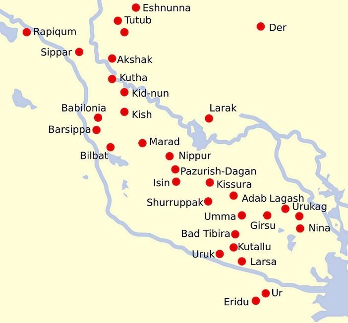 mapa mesopotâmia e povoados