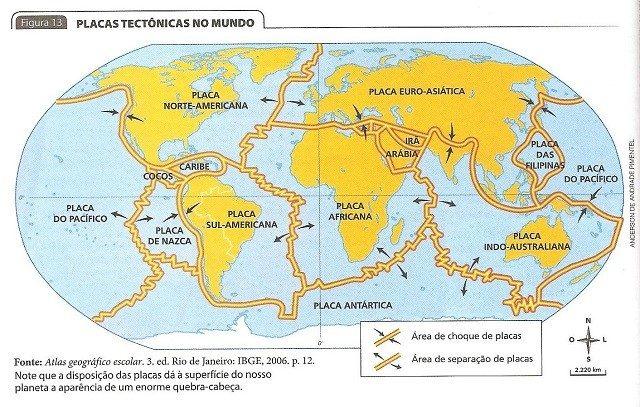 as placas tectônicas no mundo