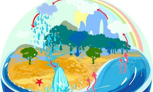Ilustração hidrosfera e ciclo geológico