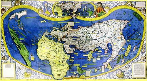 continente europeu e mapa mundi em 1507
