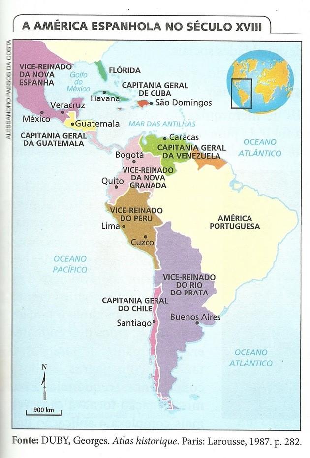 divisões da colonização espanhola