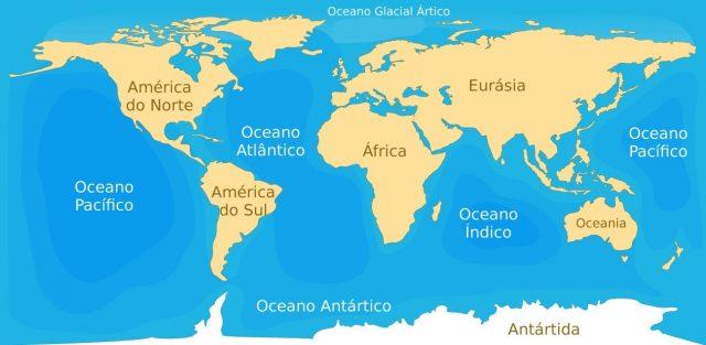 localização dos oceanos