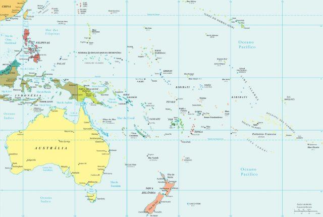 mapa politico da oceania