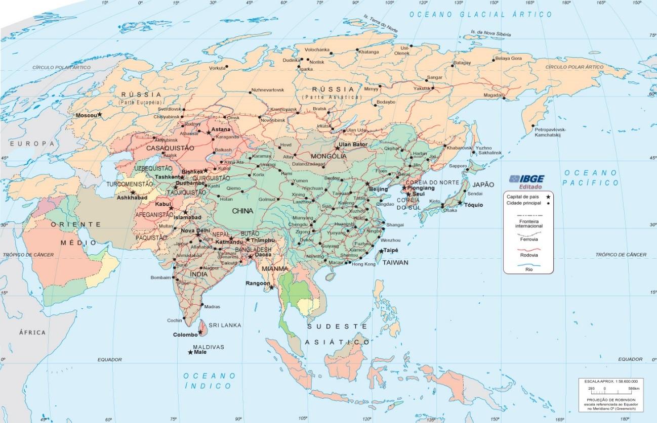 mapa continente asiático