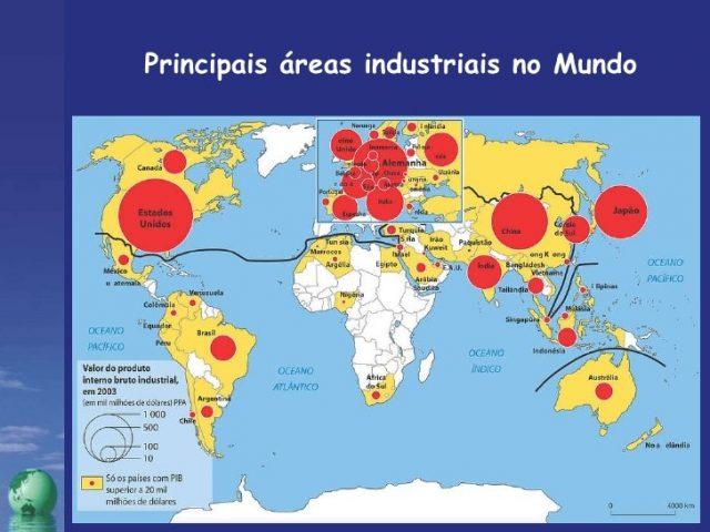 mapa das industrias pelo mundo