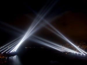propagação da luz holofotes