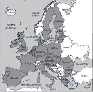 mapa continente europeu