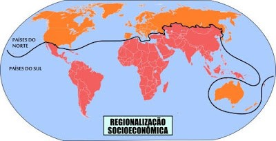 divisão do mundo entre norte e sul