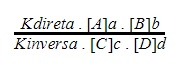 fórmula da constante de equilíbrio