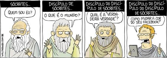 O que estuda a Filosofia - charge sobre Sócrates
