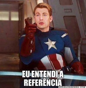 """Meme do Capitão América dizendo """"eu entendi a referência"""" para exemplificar como usar a intertextualidade na produção de textos"""