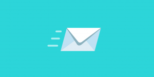 Um envelope branco em um fundo azul, simbolizando o envio de um e-mail como gênero textual