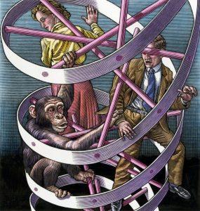 ilustração dna projeto genoma humano