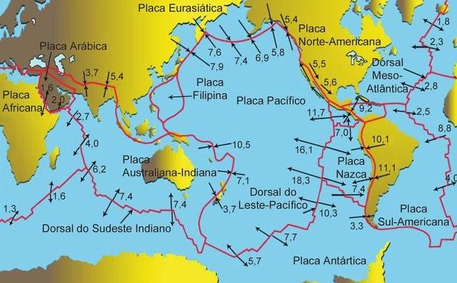 placas tectonicas no mundo