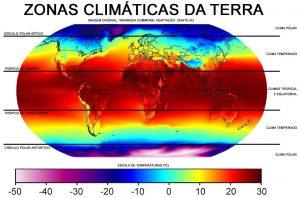 figura mostrando as zonas climáticas da terra